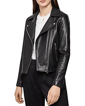 REISS - Geo Soft Leather Biker Jacket