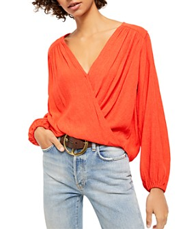 Free People - Check On It Faux-Wrap Top