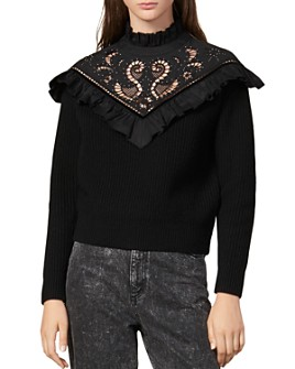 Sandro - Westy Ruffled & Embroidered Wool-Blend Sweater