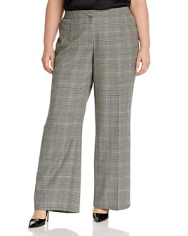 Lafayette 148 New York Plus - Dalton Wide Leg Plaid Pants