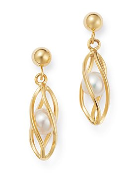 Bloomingdale's - Freshwater Pearl Cage Drop Earrings in 14K Yellow Gold - 100% Exclusive