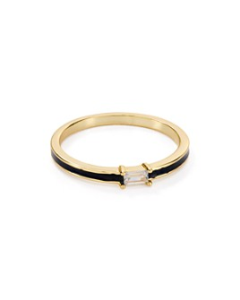 Argento Vivo - Thin Enamel Ring in 18K Gold-Plated Sterling Silver