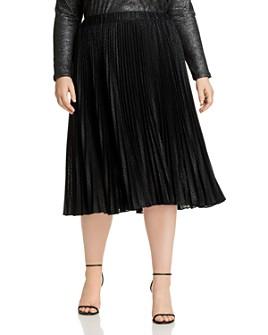 MICHAEL Michael Kors Plus - Pleated Animal-Print Midi Skirt