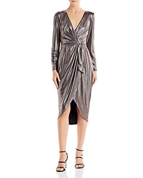Aidan by Aidan Mattox - Metallic Draped Midi Dress