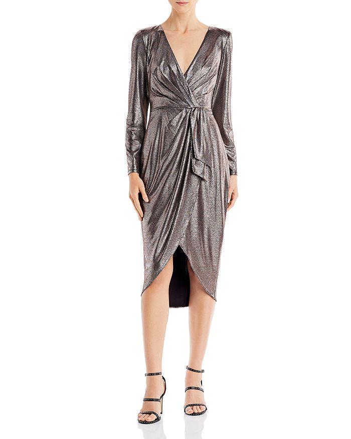 Aidan by Aidan Mattox - Metallic Draped Midi Dress