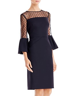 Eliza J - Bell-Sleeve Illusion Cocktail Dress