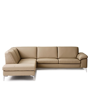 A cozy blend of contemporary style and classic comfort, this sectional from Nicoletti features slim stainless steel legs and a modern high back. Subtle contrast stitching and curved arms add understated flair.