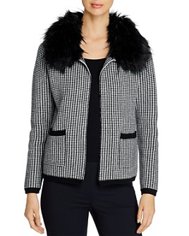 Sioni - Houndstooth Cardigan with Faux Fur Collar