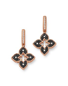 Roberto Coin - 18K Rose Gold Petite Venetian Black & White Diamond Drop Earrings