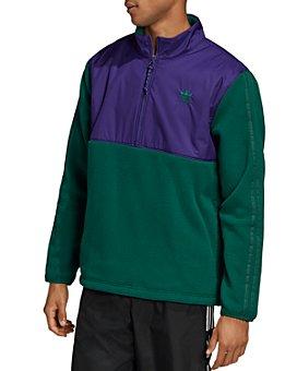 adidas Originals - Color-Block Mixed-Media Hooded Sweatshirt
