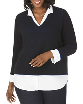 Foxcroft Plus - Mika Layered-Look Ottoman Ribbed Knit Sweater