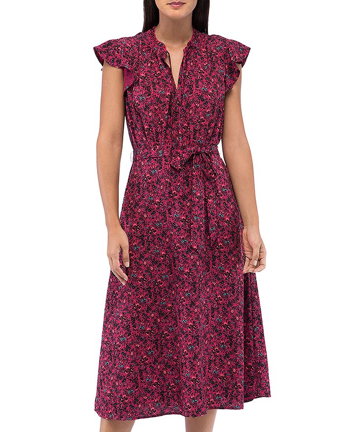 B Collection By Bobeau B COLLECTION BY BOBEAU SAVOY DITSY FLORAL FLUTTER-SLEEVE DRESS