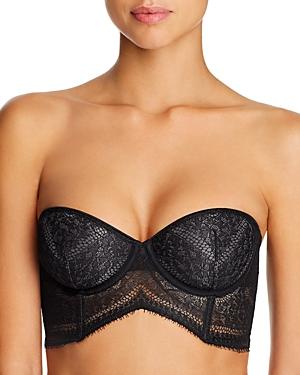 Calvin Klein Ck Black Medallion Lace Lightly Lined Longline Strapless Bra