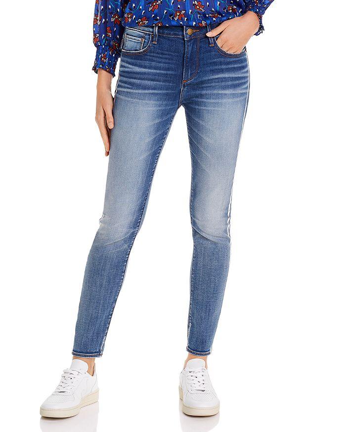 AQUA - Metallic Track Stripe Skinny Jeans in Medium Wash - 100% Exclusive