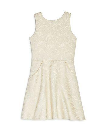 AQUA - Girls' Metallic Floral Dress, Big Kid - 100% Exclusive