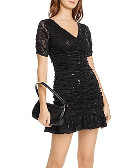 AQUA - Sequined Lace Mini Dress - 100% Exclusive