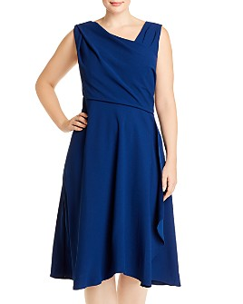 Adrianna Papell Plus - Sleeveless Asymmetric-Neck Dress