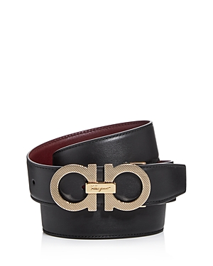 Salvatore Ferragamo Men's Double Gancini Reversible Etched Buckle Leather Belt