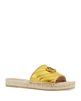 Gucci - Women's Metallic Leather Espadrille Sandals