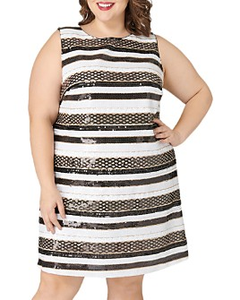 Maree Pour Toi Plus - Striped Sequined Dress