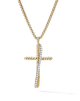 David Yurman - 18K Yellow Gold Crossover Cross Necklace with Diamonds, 17""