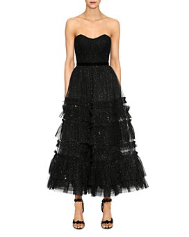 MARCHESA NOTTE - Strapless Tulle-Detail Midi Dress
