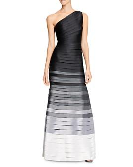 HALSTON - Ombré Stripe One-Shoulder Gown