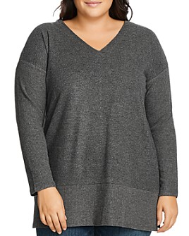 VINCE CAMUTO Plus - Ribbed Sleeve V-Neck Top
