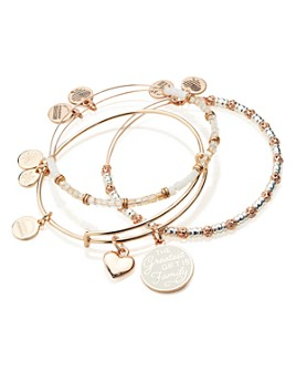 Alex and Ani - Words Are Powerful The Greatest Gift Is Family Expandable Charm Bracelets, Set of 3