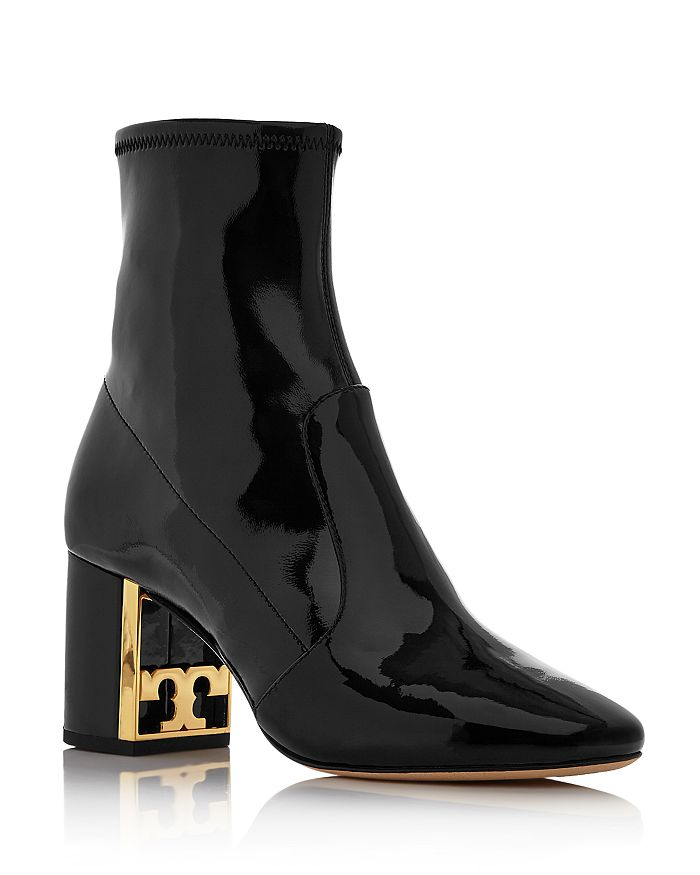 Tory Burch - Women's Gigi Patent Leather Block Heel Booties