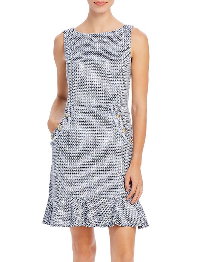 KARL LAGERFELD PARIS - Tweed Ruffle-Hem Dress