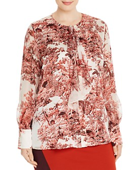 Marina Rinaldi - Baviera Botanical & Animal-Print Silk Blouse