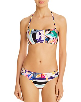 Trina Turk - Treasure Cove Bandeau Bikini Top & Side Shirred Hipster Bikini Bottom
