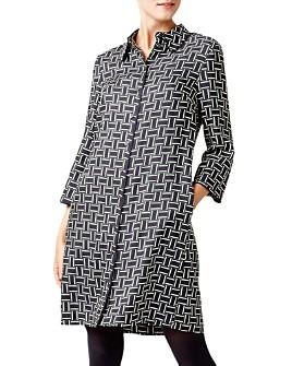 HOBBS LONDON - Aubery Geometric Print Shirt Dress