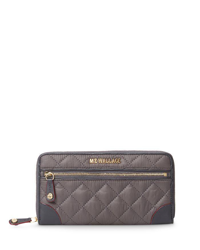 Mz Wallace Crosby Long Wallet In Magnet Grey/gold