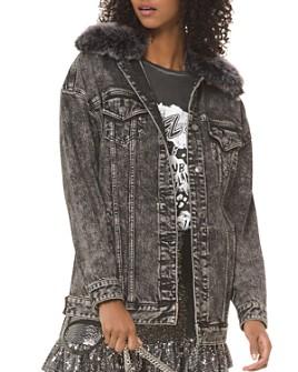 MICHAEL Michael Kors - Acid-Washed Faux-Fur Trimmed Denim Jacket