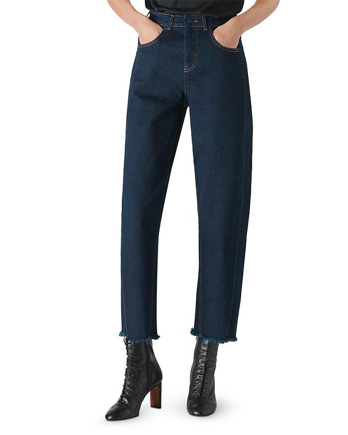 Whistles - High-Waist Barrel-Leg Jeans in Dark Denim