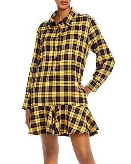 AQUA - Ruffled Plaid Shirt Dress - 100% Exclusive