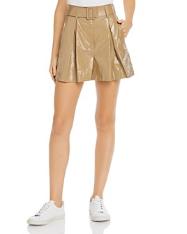MSGM - Faux-Patent-Leather Pleated Shorts