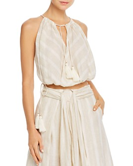 Significant Other - Phoenix Sleeveless Tonal-Stripe Cropped Top