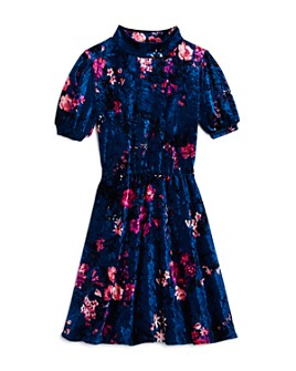 AQUA - Girls' Mock-Neck Floral Velvet Dress, Big Kid - 100% Exclusive