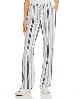 Bella Dahl - Frayed Striped Wide-Leg Pants