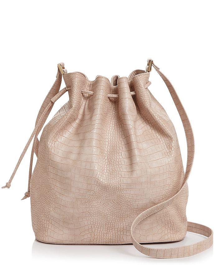 Aqua Croc-embossed Bucket Bag - 100% Exclusive In Blush/gold