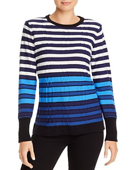 KARL LAGERFELD PARIS - Striped Cable-Knit Sweater