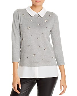KARL LAGERFELD PARIS - Layered-Look Top with Faux Pearl Details