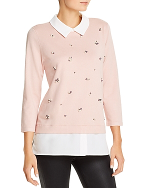 Karl Lagerfeld Paris Layered-Look Top with Faux Pearl Details