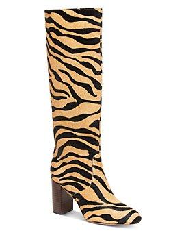 Loeffler Randall - Women's Goldy Tiger-Print Calf-Hair High-Heel Boots