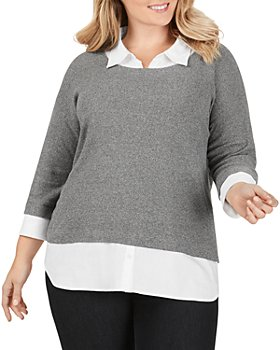 Foxcroft Plus - Miles Layered-Look Sweater