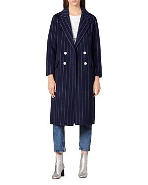 Sandro Coats THINY STRIPED WOOL-BLEND COAT