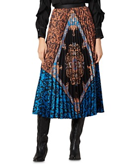 Sandro - Ivona Printed Color-Blocked Midi Skirt